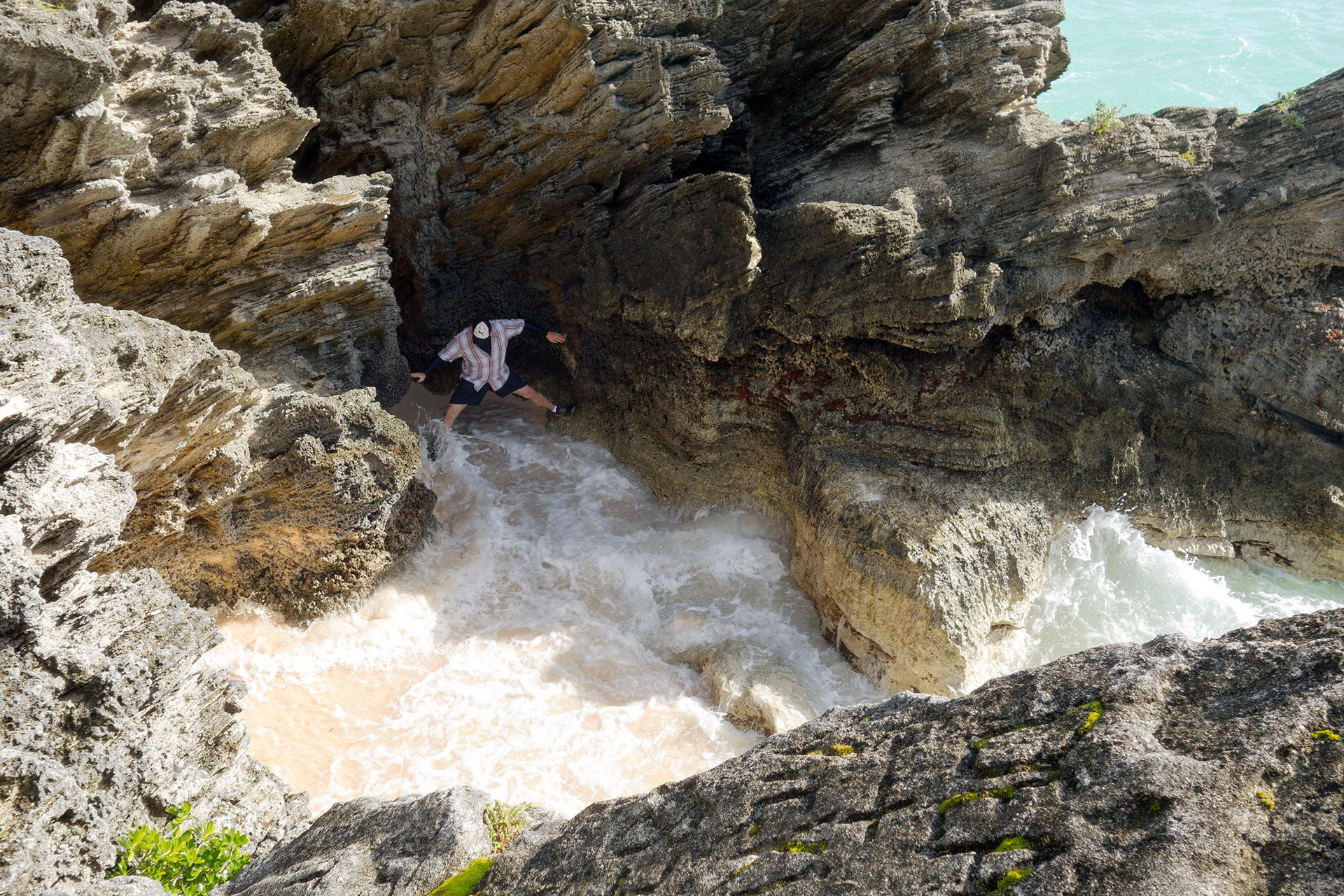 Matt exploring one of the coves in Bermuda.