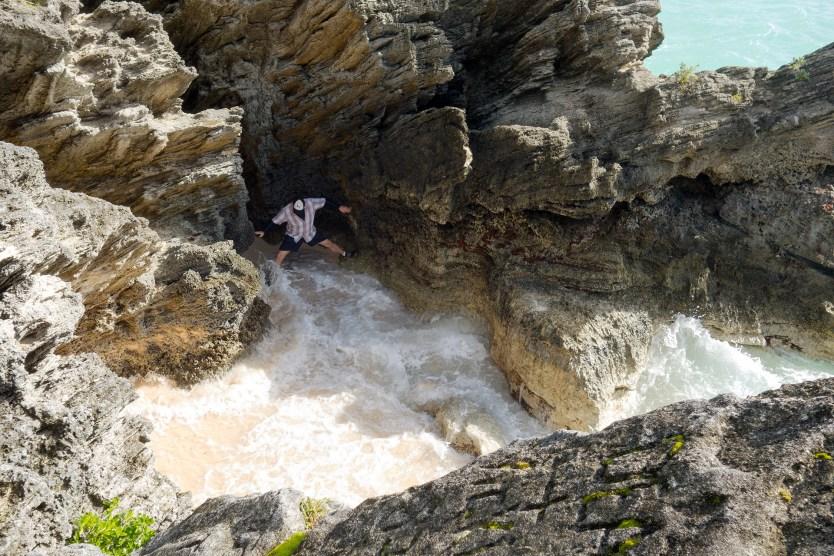 Matt exploring one of the coves in Bermuda.