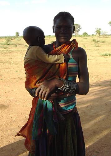 Karimojong woman and child