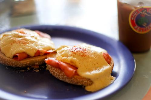 Smoked Salmon Eggs Benedict @ Maui Coffee Roasters