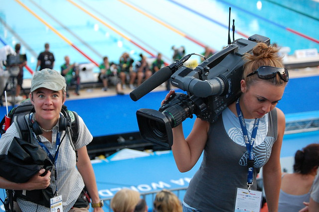 A TV crew at the Roma 09 World Championships