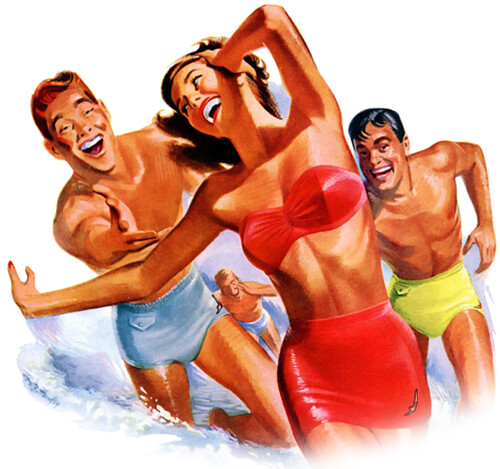Portion of a vintage 1950s Jantzen bathing suit advertisement