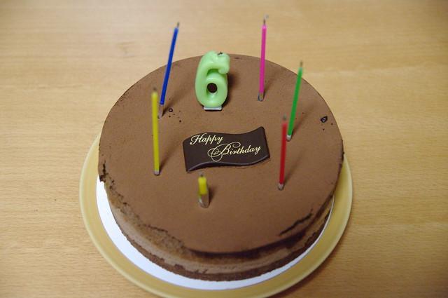 6th Birthday Cake 6歳の誕生日ケーキ 長男6歳の誕生日ケーキ。チョコケーキ