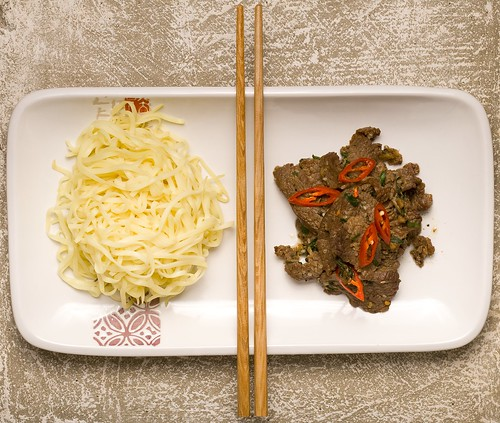 Ginger beef and egg noodle