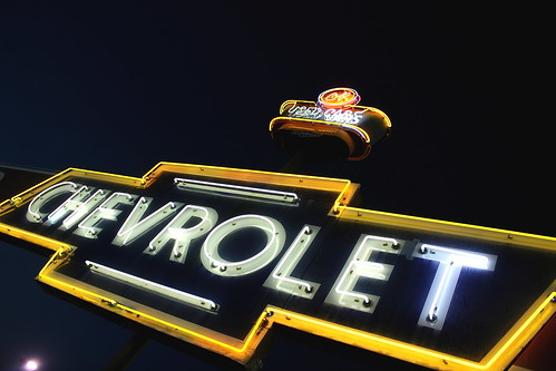 Vintage neon Chevrolet bowtie sign in Tennessee. Photo copyright Jen Baker/Liberty Images; all rights reserved, though pinning is okay.