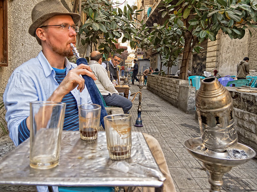 Nargile hookah cafe in Egypt, Cairo