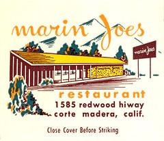 Marin Joe's matchcover  image