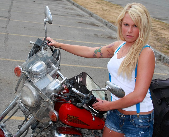 Sabrina as a biker chick