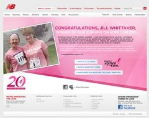 Screenshot from the New Balance Running on Hope contest web site