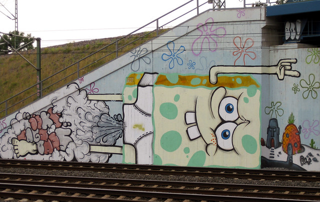 Photo diary. 20th of July, 2009. Köln-Buchforst railway station: Spongebob