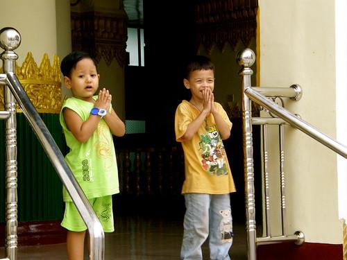 Kids Praying at Shwedagon Pagoda, Yangon