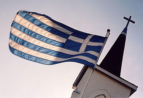 Greek flag flies over Ontario Greek Orthodox Church (Leica IIIf) by gnawledge wurker