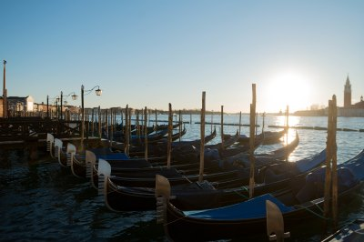 Sunrising over venetian Gondolas