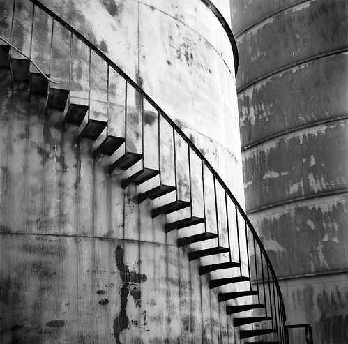 Owens Valley Silo Stairs B&W