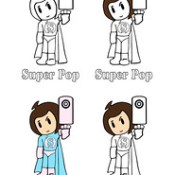 Super Pop B-Pop Superhero Girl Cape Boots Gloves Super Girl Costume Coloring Cartoon Comic Book Page Plush She Hero Doll House Chest Logo Emblem Toy Video Game Arcade Japanimation Manhua Dorm College Art Action Figure Caricature Series Con Event Collectib