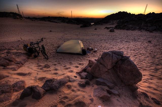 Wild camping near the Aswan Dam, Egypt (HDR)