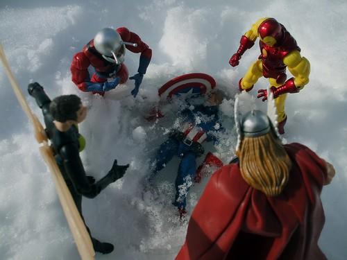 the Avengers find Captain America frozen
