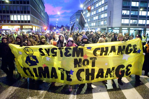 """System Change Not Climate Change"" banner - United Nations Climate Change Conference - COP15 - Copenhagen, Denmark"