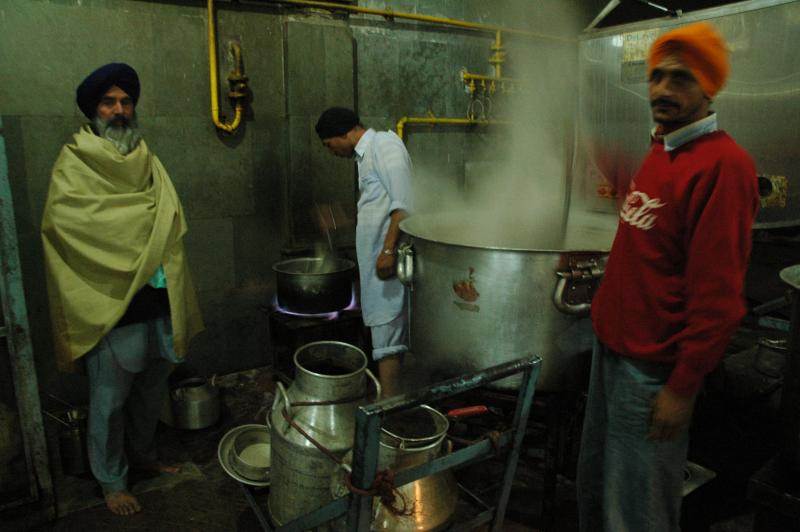 The Chai station continuously churns out tea for pilgrims