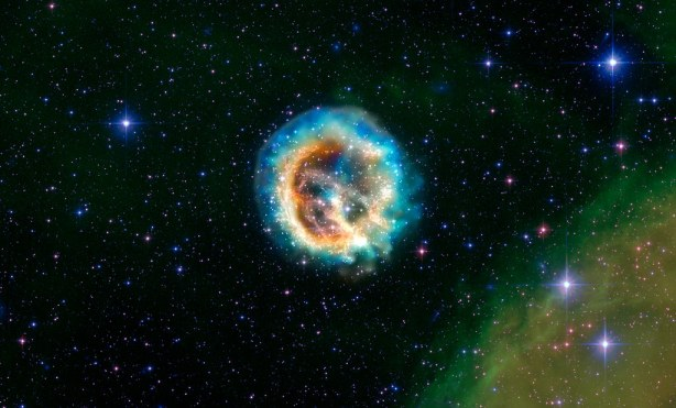 Adding a New Dimension to an Old Explosion: Officially known as 1E0102.2-7219, a supernova remnant in the Small Magellanic Cloud.