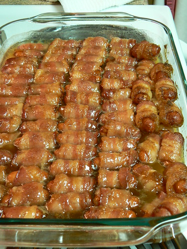 Smokies wrapped in bacon, baked in Butter and Brown Sugar – VERY healthy for you! LOL
