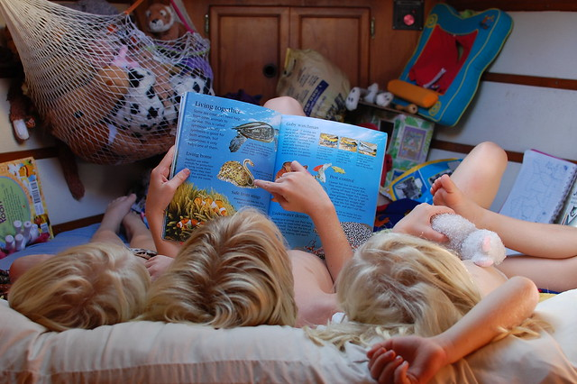 kids reading ocean book in their bunk