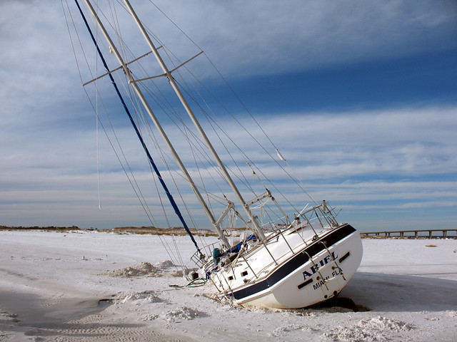 Wrecked Sailboat Okaloosa Island Florida As An Old TV