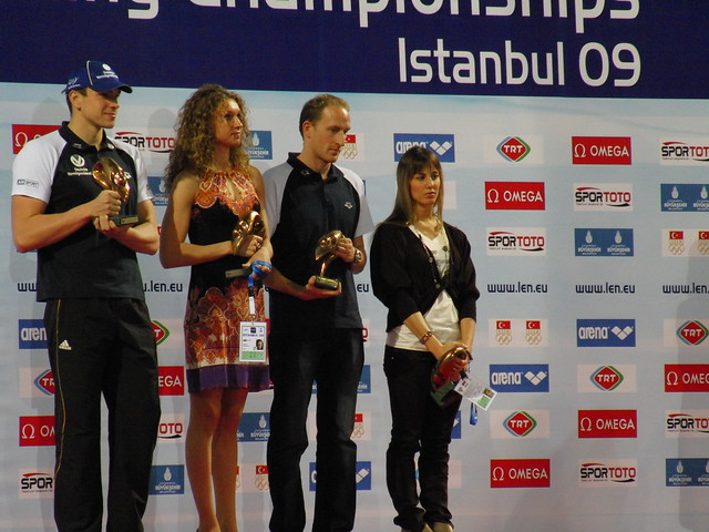 European Swimmers of the Year 2009 on the Istanbul podium