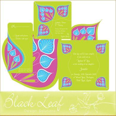 Peacock Wedding Card Set - Green