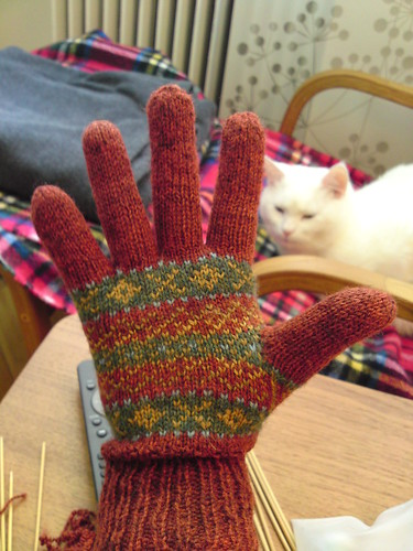 mended mitten and cat