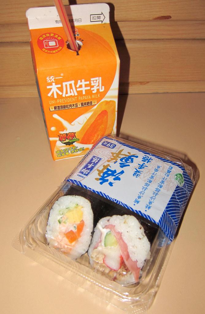 papaya milk and sushi roll