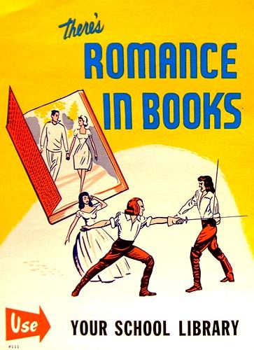 RETRO POSTER - There's Romance in Books