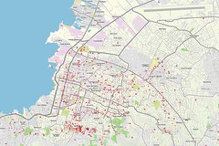 Overlay of roads, labels, parks, and buildings in Haiti post earthquake