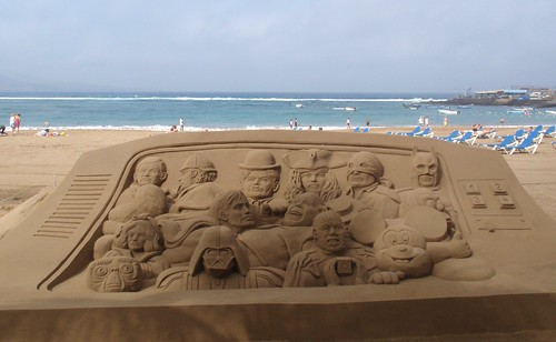 Personajes del cine en arena.Sand Art Treits 07-02-2010.Playa de Las Canteras.Gran Canaria.