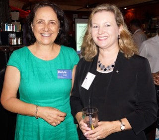 Vivienne Lewis from Anew Lifestyle and Leanne Stevens from Emergico at the Brisbane North Chamber of Commerce monthly meeting.