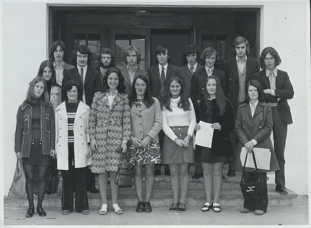 Students, West Entrance Plassey House, on their first day September 1972