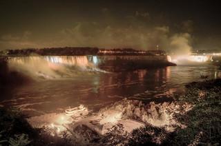 American and Canadian Niagara Falls at Night #9430