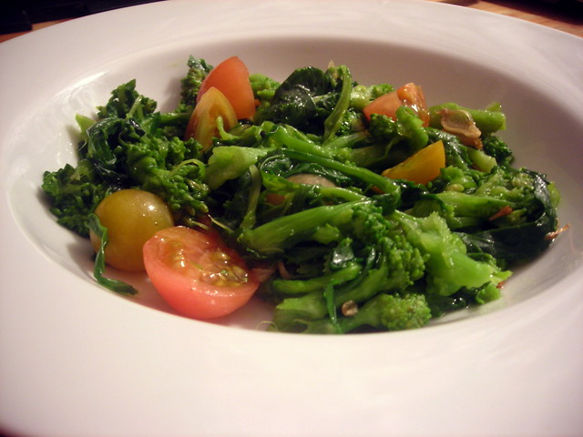 Broccoli rabe with heirloom tomatoes and rocambole garlic