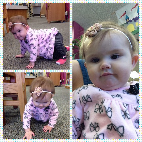 Stepped out of my comfort zone and took E to the library for baby time today. She had fun.