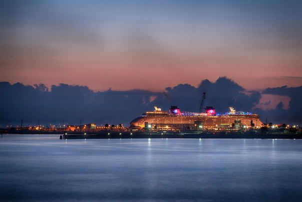 Disney cruise ship at dawn