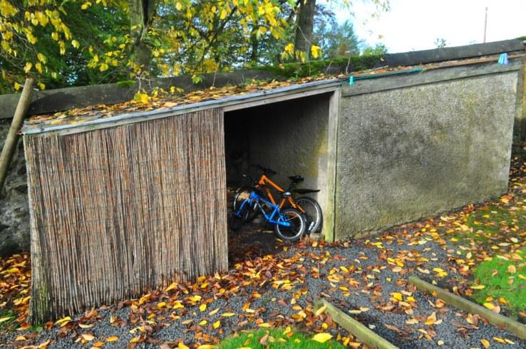 Bike storage at West Lodge Mellerstain House