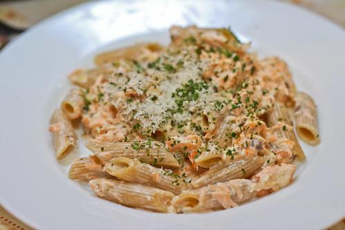 Salmon with Whole Grain Pasta