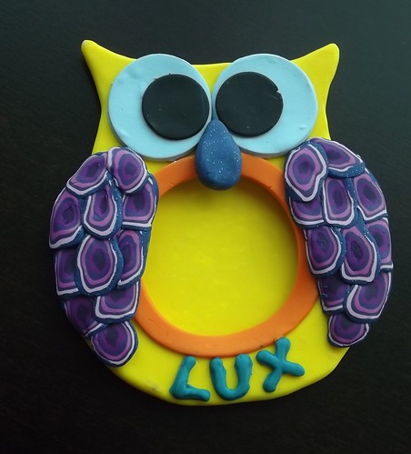 Polymer Clay Owl Picture Frame Back