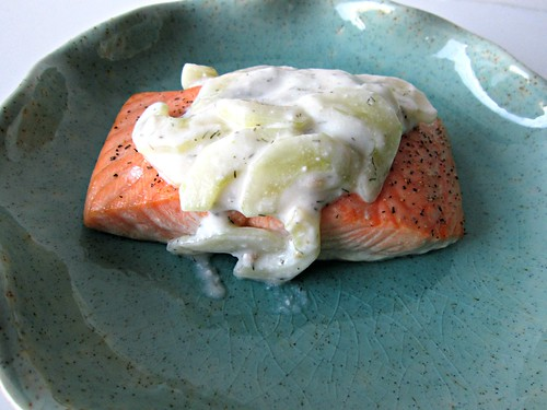 Salmon with Creamy Cucumber Dill Sauce2