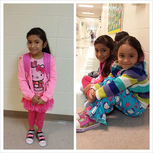 Alaethia's 1st day of school, accompanied by her sissy :)
