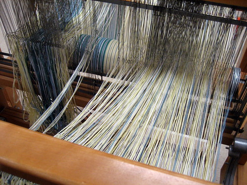 Cotton warp threading counter-balance loom