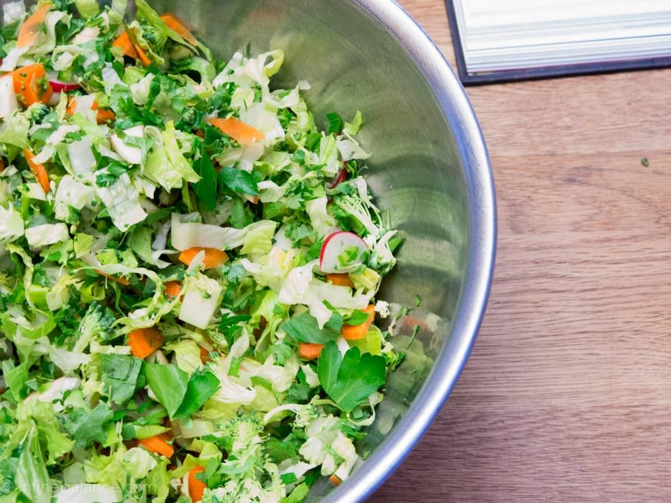 salad starter with greens, carrots, radish and fresh herbs