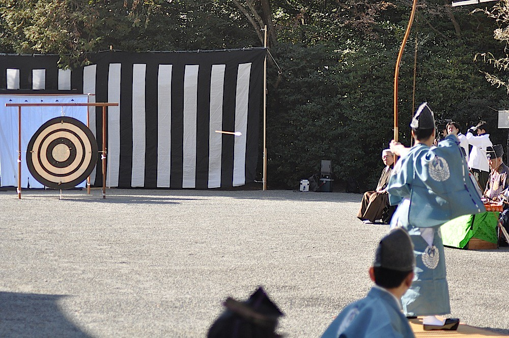 Japanese Archer shooting at a New Year's Event