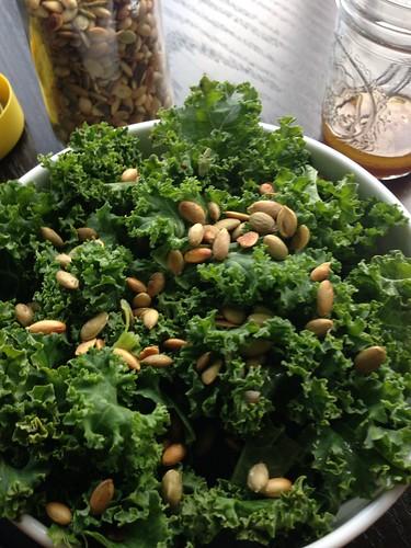 Kale salad with Pepitas and lemon agave vinaigrette on twothirtyate.com