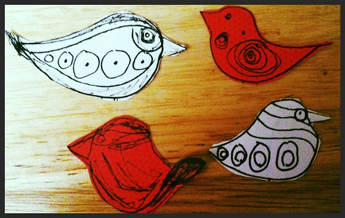 Little birds drawn and cut out